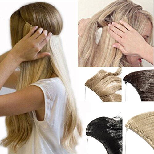 2-5 Days Delivery Best Synthetic Hair Extensions 20 inches Curly Straight Full Head Invisible Wire Secret String No Clips in Hair Extensions Secret Fish Line Hairpieces (ash blonde)