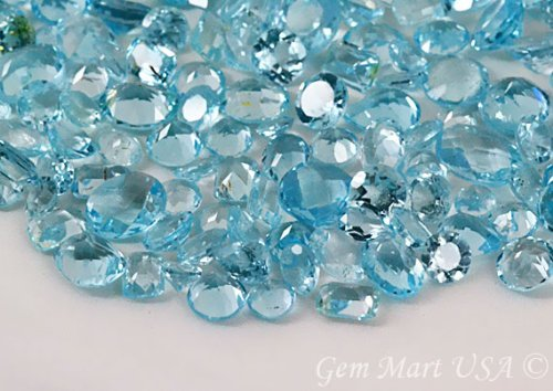 100 + Carats mix Blue Topaz, Loose Faceted Stones, Sky Blue Topaz Cut Mix, AAAmazing Cut and Quality, Mix Gems, Gemstones