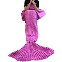 Kpblis Knitted Mermaid Tail 75-Inch–by–31-Inch Blanket Pink.
