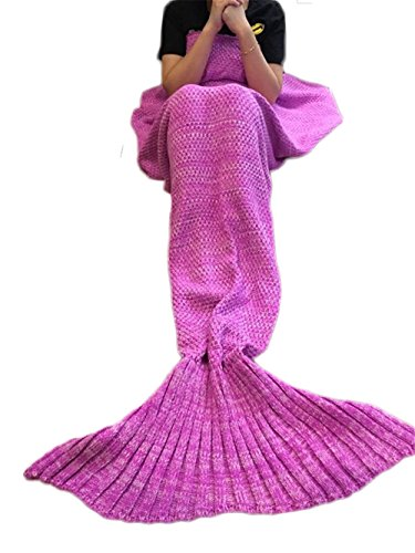 Kpblis All Seasons Soft Knitted Mermaid Blanket Tail for Kids 55-28-inches Child pink
