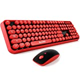 Wireless keyboard and mouse,Cute Wireless Keyboard with Round Retro Style Red Key,SADES v2020(red black),2.4 GHz Connectivity,for PC,Laptop