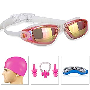 GAOGE Swim Goggles Swimming Goggles + Swim Cap + Case + Nose Clip + Ear Plugs, Triathlon Swim Goggles Mirror Coated Lenses Anti-Fog Shatterproof UV Protection for Adult Men Women Youth Kids Child