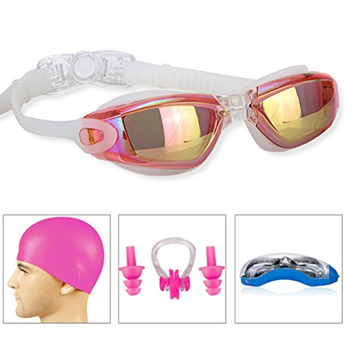 GAOGE Swim Goggles Swimming Goggles + Swim Cap + Case + Nose Clip + Ear Plugs, Triathlon Swim Goggles Mirror Coated Lenses Anti-Fog Shatterproof UV Protection for Adult Men Women Youth Kids (Aqua Contact Lenses)