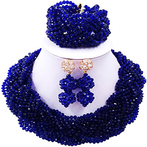 laanc Nigerian Wedding Custom Necklace Earrings Bracelet African Jewelery Bride Jewelry Set (Royal Blue) (Royal Necklace Blue Set)