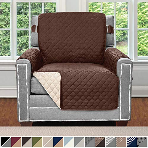"Sofa Shield Original Patent Pending Reversible Chair Slipcover, Dogs, 2"" Strap/Hook, Seat Width Up to 23"" Machine Washable Furniture Protector, Slip Cover Throw for Pets Kids (Chair: Chocolate/Beige)"