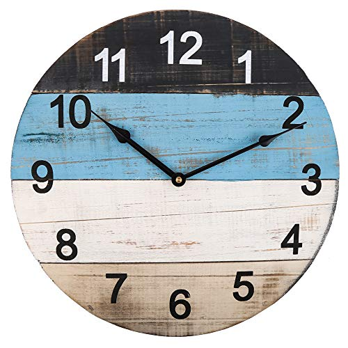Large Wooden Wall Clock, 18 Inch Creative 4 Color Blocks Spliced Clock Face, Vintage Distressed Solid Wood, Rustic Decorative Silent Clock for Indoor Living Room Dining Room Bedroom Kitchen