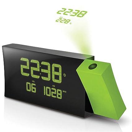 FOOSKOO Clock Despertador Digital Proyector Proyección LCD Radio Reloj Alarma Pantalla Día de la Semana Temperatura