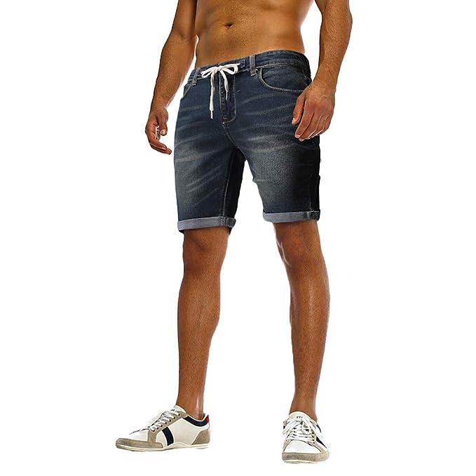 PARVAL Pantalones Vaqueros destruidos para Hombre Pantalones Cortos Pantalones Cortos de Mezclilla con Cintura elástica y Apariencia destruida Hechos ...
