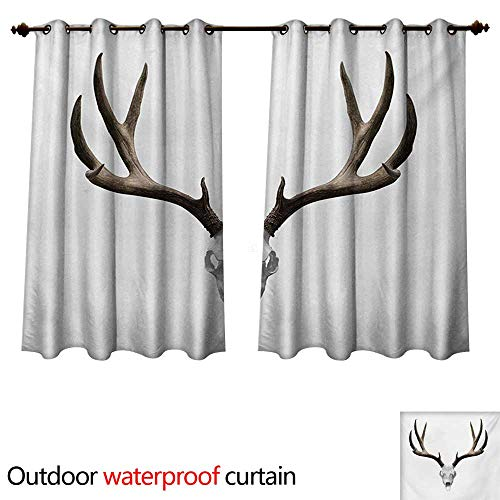 WilliamsDecor Antlers Outdoor Curtain for Patio A Deer Skull Skeleton Head Bone Halloween Weathered Hunter Collection W63 x L63(160cm x 160cm) for $<!--$49.60-->