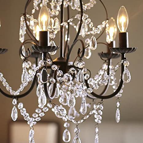 Aero Snail North American Country Style Crystal 5-Light Chandelier Lighting Metal Pendant Lamp
