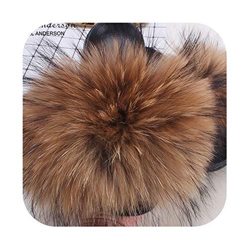 Lady Furry Slippers Real Raccoon Fur Slides Summer Casual Flip Flops Beach Sandals Plush Shoes,Natural Raccoon Fur,9]()