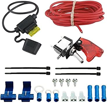 Amazon Com American Volt Auto Electric Fan Red Led Rocker Switch Complete Wiring Kit Toggle Trigger Cover Automotive