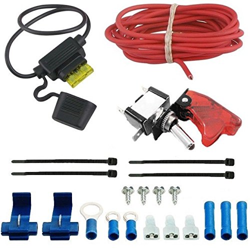 American Volt Auto Electric Fan Red Led Rocker Switch Complete Wiring Kit Toggle Trigger Cover