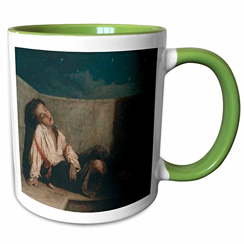 - 3dRose BLN Paintings of Children Fine Art Collection - Recess on a London Bridge, 1879-80 by Augustus Mulready - 15oz Two-Tone Green Mug (mug_169792_12)