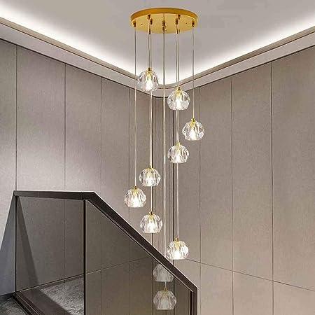 MLSHLF LAMP 10 Luces cayendo Colgante Ligero Moderno Cristal Escalera de Caracol Larga araña Villa Escalera luz dúplex araña 35x117 cm: Amazon.es: Hogar