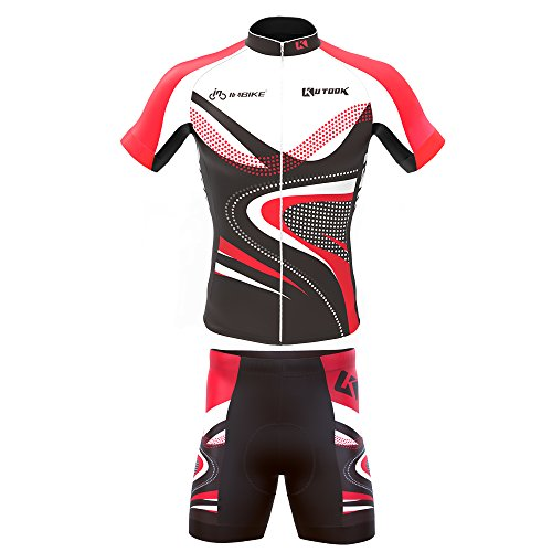INBIKE Men's Summer Breathable Cycling Jersey and 3D Silicone Padded Shorts Set Outfit, Red, (US)M-(CN)XL