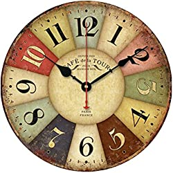 VORCOOL Vintage Rustic Country Tuscan Style Wooden Decorative Round Wall Clock (Color figures)
