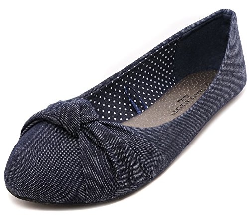 Charles Albert Women's Knotted Front Canvas Round Toe Ballet Flats Denim
