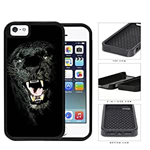 Ferocious Black Panther Close-up 2-Piece Dual Layer High Impact Rubber Silicone Cell Phone Case Apple iPhone 5 5s