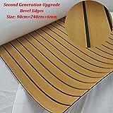 yuanjiasheng New Design EVA Faux Teak Decking Sheet For Boat Yacht Non-Slip Marine Flooring Mat 94.5''× 35.4'' Bevel Edges (gold with black lines)