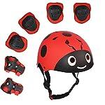 UniqueFit-Lucky-M-Bambini-7-Pezzi-di-Sport-Outdoor-Gear-Set-Bambine-da-Ciclismo-Casco-di-Sicurezza-e-Set-Ginocchiere-gomitiere-e-polsiere-Rullo-per-Scooter-Skateboard-Bicicletta–3-Anni-Old-