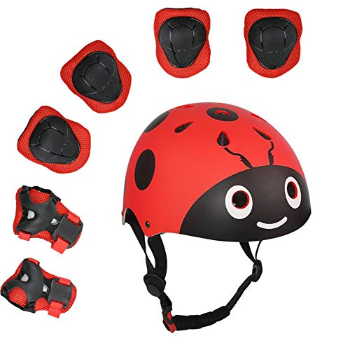 XINGCHENGSPORT Kids Multi-Sport Helmet with Knee&Elbow Pads and Wrists 7 Pieces Kids Boys and Girls Outdoor Sports Safety Protective Gear Set for Skateboard Cycling Skate Scooter(4-8 Years Old) (Red)