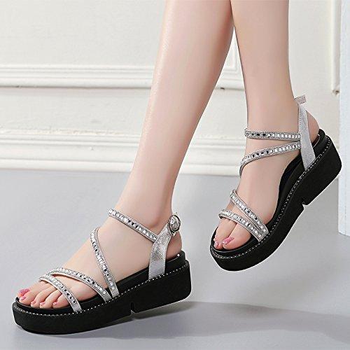 Moda Mujer verano sandalias confortables tacones altos,34 negro (con alto 4cm) White