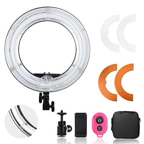 Hakutatz Pro Dimmable Camera Photo Video 14 inches Ring Light 45W Fluorescent Flash Light 5500K with Bag, Plastic Color Filter Set, Swivel Mini Ball Head, Cellphone Clip Holder, Bluetooth Receiver by Hakutatz