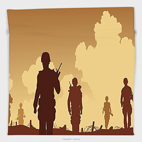 War And Peace Movie Costumes (Vipsung Microfiber Ultra Soft Hand Towel-War Decor Soldier Shadows With Military Costumes And Weapons Walking On Patrol Print Brown Cream For Hotel Spa Beach Pool Bath)