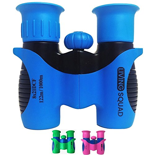 Kids Binoculars Shock Proof Set 8x21 by LivingSquad for Bird Watching - Real Educational Learning - Birthday Present for Hunting and Hiking - Outdoor Play Toys - Top Gifts for Children (USA SELLER)