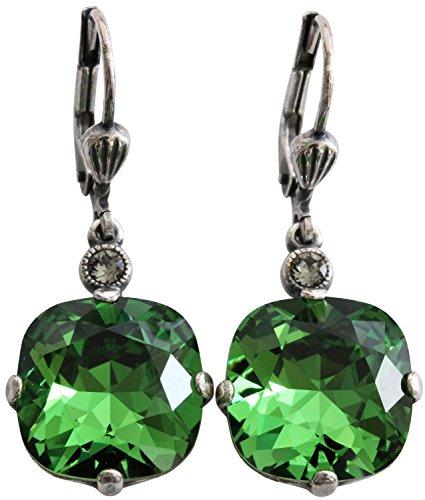 Catherine Popesco Silvertone Crystal Round Earrings, Fern Green 6556