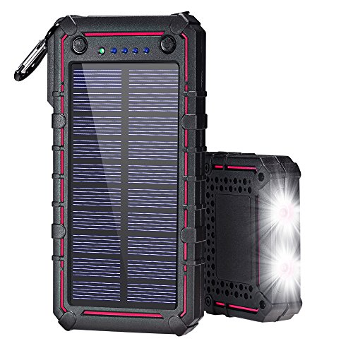 Solar Charger, Solar Power Bank, 13500mAh Portable Solar Phone Charger External Solar Panel Battery Pack Phone Charger with Dual USB and 2 LED Flashlights for iPhone X, Samsung S9/Note 8 and More