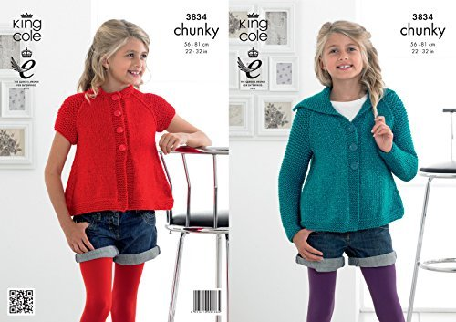 King Cole Girls Glitz Chunky Knitting Pattern Childrens Long or Short Sleeved Cardigan (3834) by King Cole by King Cole