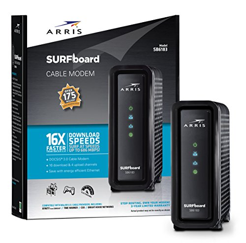 Review ARRIS SURFboard 16x4 SB6183 DOCSIS 3.0 Cable Modem- Retail Package- Black
