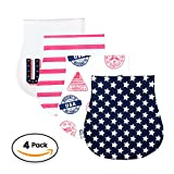 Baby Burp Cloths 4 pack, 100% Organic Cotton | Large, Triple Layer, Ultra Absorbent & Soft |Burping Rag for Newborn, Gender Neutral |Baby Shower Gift for Boys & Girls 'Merica Set By Chunky Chops