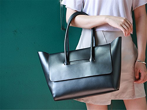 Xinmaoyuan Mujer bolsos de cuero Bolsos de mano sencillo y generoso femenino ganado Big Bag Bolso Bolso de Hombro blando,Golden Negro