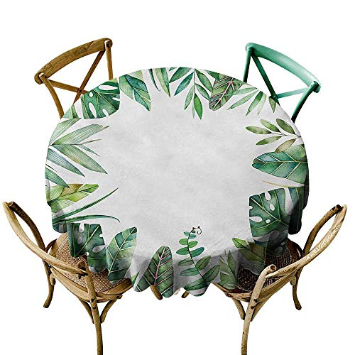 Wendell Joshua Black Tablecloth 70 inch Plant,Interesting Jungle Themed Picture with Leaves and an Opening to The Sky Exotic Art,Fern Green Great for Buffet Table, Parties, Holiday Dinner & More