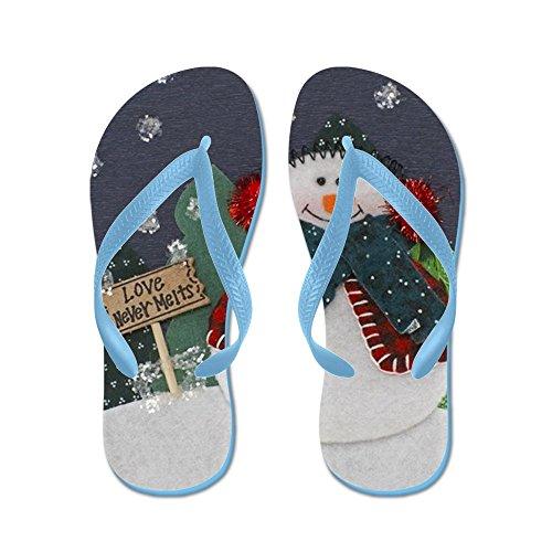 Cafepress Snögubbe Jul Decoation - Flip Flops, Roliga Rem Sandaler, Strand Sandaler Caribbean Blue