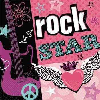 Rock Beverage Napkins - Amscan Trendy Rocker Girl Birthday Party Beverage Napkins Tableware (16 Pack), 5