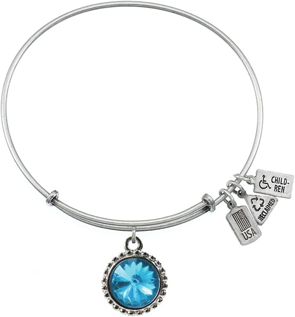 Wind and Fire December Birthstone Silver Medal Charm Bangle