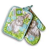 Spring Easter Bunny Patterned Kitchen Set - Oven Mitt and Potholder
