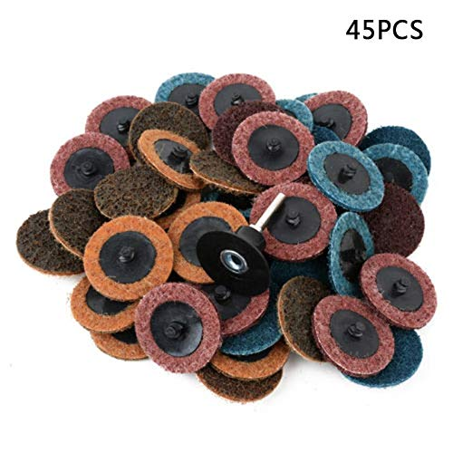 Cloth Emery - 45pcs 2'' Fine Medium Coarse Roll Lock Surface Sanding Disc With Mandrel - By ARISLUX