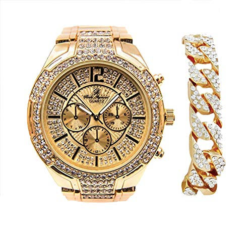Bold & Powerful Hip Hop Bling! Iced Out Bling Gold Mens Watch w/Ice on Dial and Chrono Look Faux Eyes richly Matched w/Gold Bling Cuban Design Bracelet - 8706B Gold Cuban