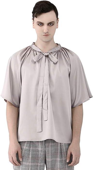 Steelsir Camisa de Manga Corta de Seda con Lazo para Hombre, Estilo Vintage, Plisada, Color sólido: Amazon.es: Ropa y accesorios