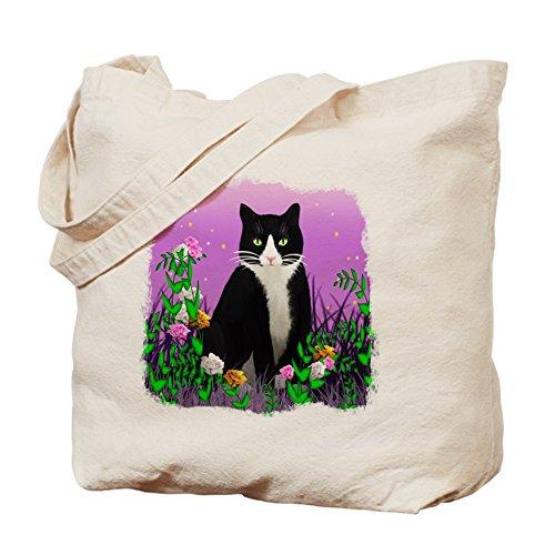 CafePress–Esmoquin gato en lavanda–Gamuza de bolsa de lona bolsa, bolsa de la compra