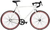 Windsor Clockwork Plus Single Speed Fixed Gear Fixie 700c Bike Bicycle (White with Red Wheels, 56cm)