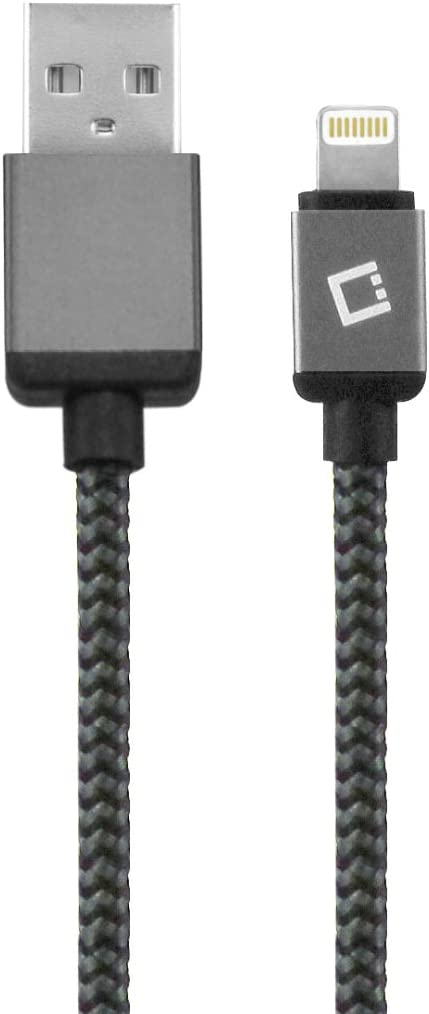 Cellet USB Charging and Data Sync Cable for iPhone 7, 7 Plus and other Apple Lightning Devices – 8 Pin - Apple Certified - 10' Braided Nylon – Black
