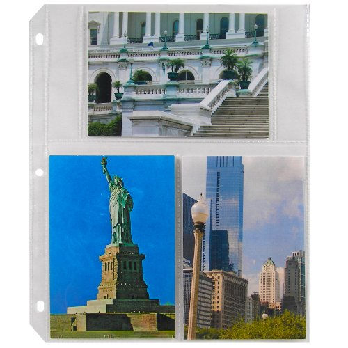 C-Line Ring Binder Photo Storage Pages for 4 x 6 Inch Photos, Multi-View, 6 Photos/Page, 50 Pages per Box (41346)