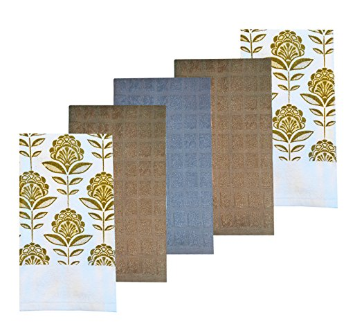 (Taupe Floral Leaf 5 Piece Colorful Print and Solid Cotton Kitchen Dish Towel Set, 100% Absorbent Cotton, Floral Leaf)