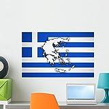 Wallmonkeys Greece Map Greek Flag Wall M